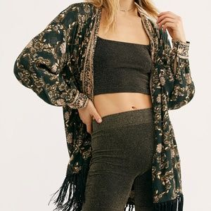 Free People Green Floral Kaelin Open Jacket NWT